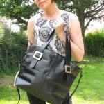 Leather Handbag Buckle Tote..