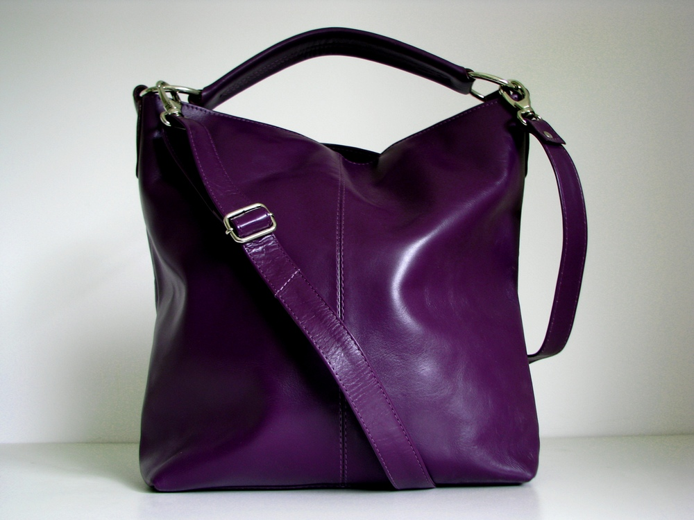 Leather Handbag Purple - Messenger Bag Tote